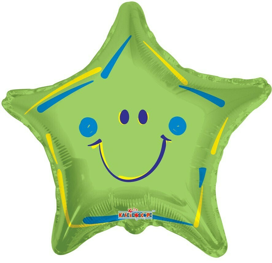 18 - STAR WITH SMILEY FACE GREEN