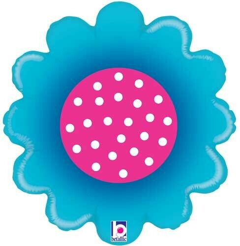 BLUE & AND PINK DAISY BALLOON