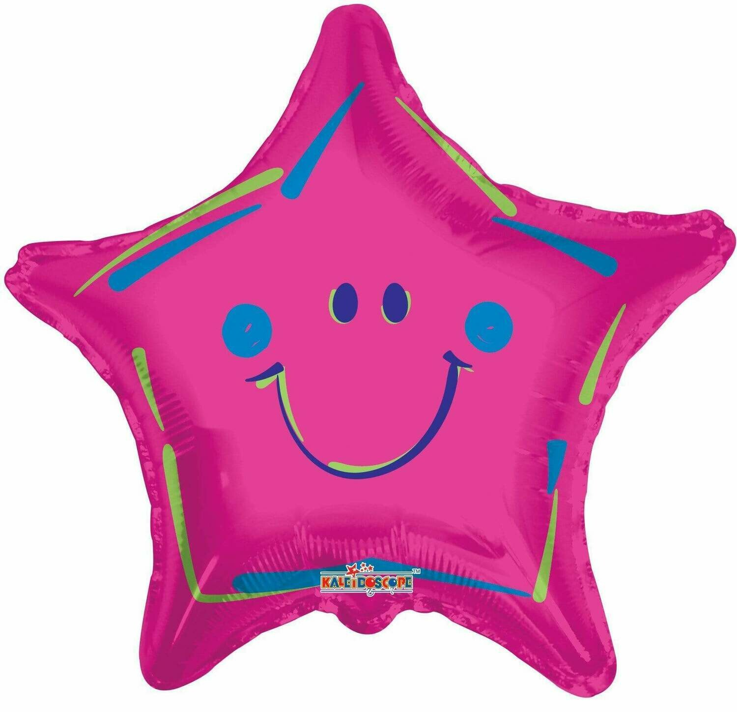 18 - STAR WITH SMILEY FACE HOT PINK