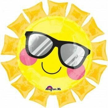 "27"" SMILEY FACE SUN SHAPE W/GLASSES"