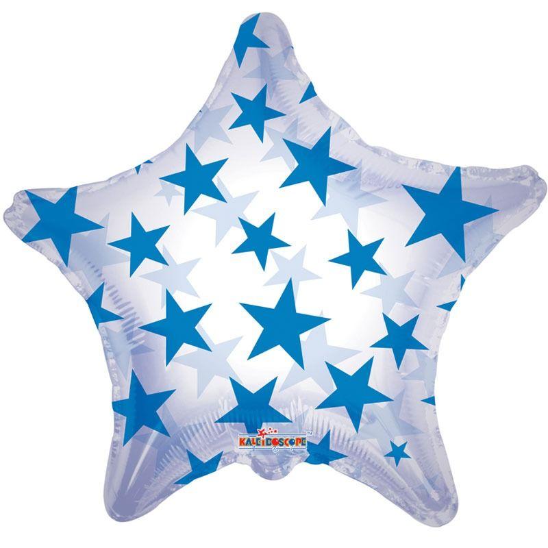 "22"" CLEAR W/STARS ROYAL BLUE"
