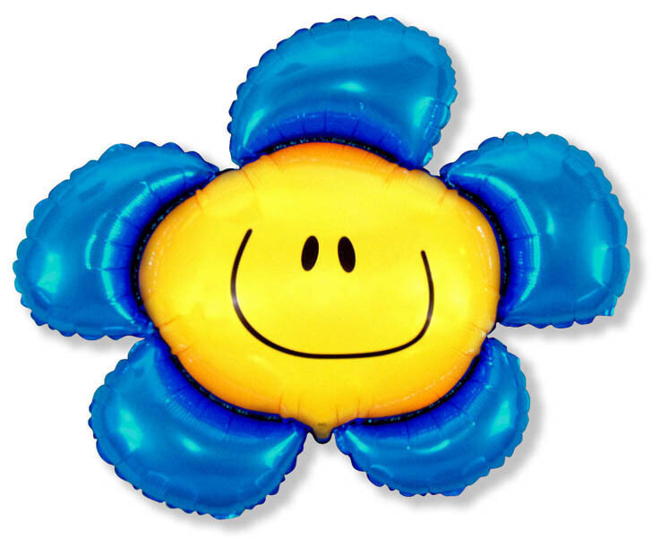 """41"""" SMILEY FACE FLOWER ASSORTED COLORS"""