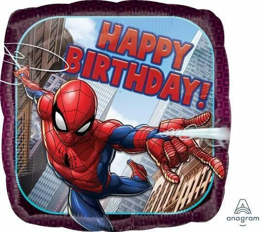 17 - SQUARE BIRTHDAY SPIDERMAN FLYING THRU CITY