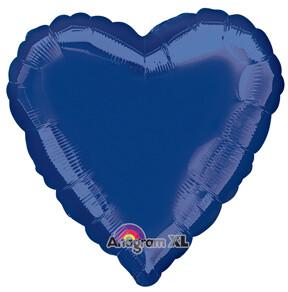 18 - METALLIC HEART SOLID NAVY BLUE