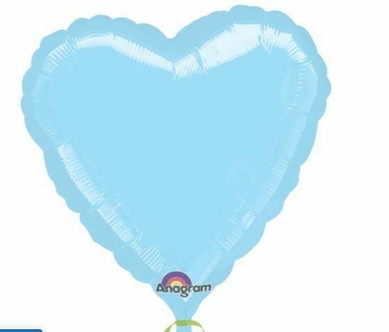 18 - METALLIC SOLID PASTEL BLUE HEART