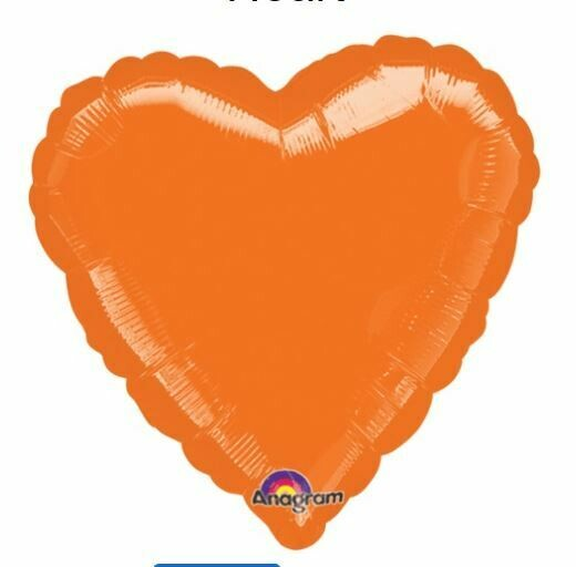 18 - METALLIC SOLID ORANGE HEART