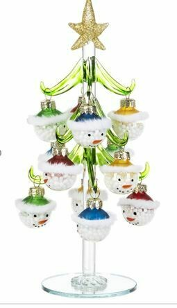 8 - GLASS TREE WITH SNOWMAN ORNAMENTS