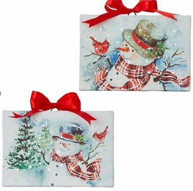 6 - SNOWMAN LIGHTED CANVAS ORNAMENT