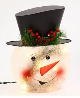 11 - FROSTED SNOWMAN HEAD LIGHTED
