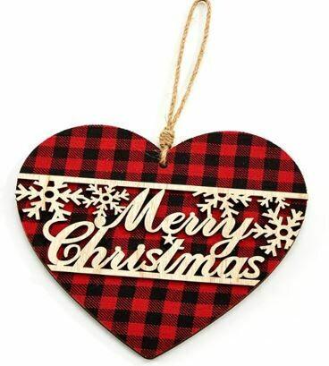 REB/BLACK CHECK HEART MERRY CHRISTMAS