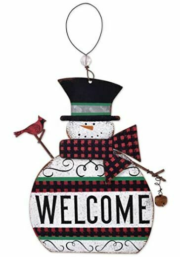WELCOME METAL SNOWMAN R/B CHECK ORNAMENT