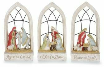 CATHEDRAL WINDOW NATIVITY SCENE