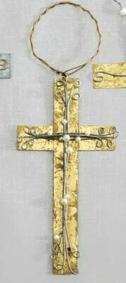GOLD METAL CROSS ORNAMENT PEARL/GOLD