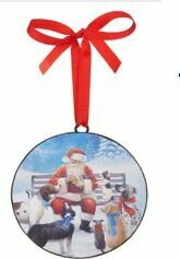 6 - DOGS VISITING SANTA DISC ORNAMENT