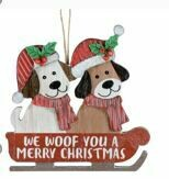 WE WOOF YOU A MERRY CHRISTMAS ORNAMENT