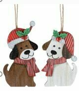 WOODEN DOG ORNAMENT WITH JINGLE BELLS