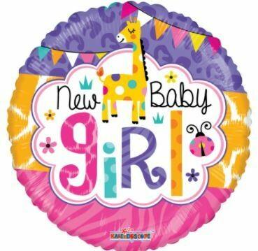 PINK NEW BABY GIRL GIRAFFE BALLOON