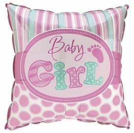 SQUARE BABY GIRL STRIPES AND DOTS BALLOON