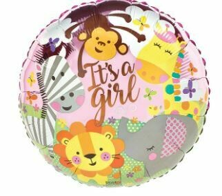 PINK IT'S A GIRL ZOO ANIMALS BALLOON
