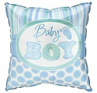 SQUARE BABY BOY STRIPES & POLKA DOTS BALLOONS