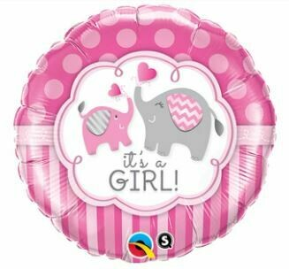 18 - FOIL IT'S A GIRL ELEPHANTS BALLOON