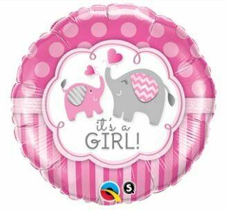 18 - FOIL IT'S A GIRL ELEPHANTS BALLOON