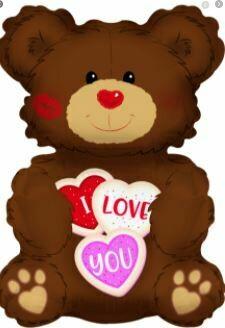 36 - I LOVE YOU COOKIE BEAR BALLOON