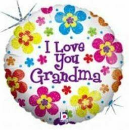 I LOVE YOU GRANDMA BRIGHT FLOWERS BALLOON