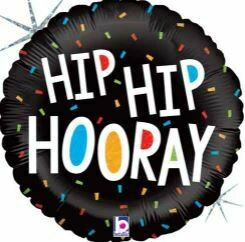 18 - HIP HIP HOORAY BLACK CONFETTI BALLOON