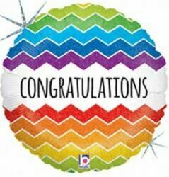 18 - CONGRATULATIONS BRIGHT CHEVRON BALLOON