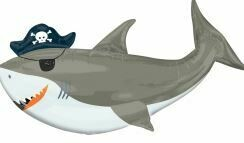 41 - SHARK WITH PIRATE HAT AND EYE PATCH
