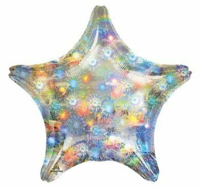 HOLOGRAPHIC SOLID BALLOON SILVER STARBURST STAR