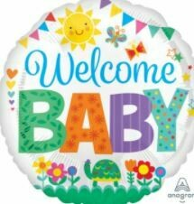 WELCOME BABY TURTLE & FLOWERS BALLOON