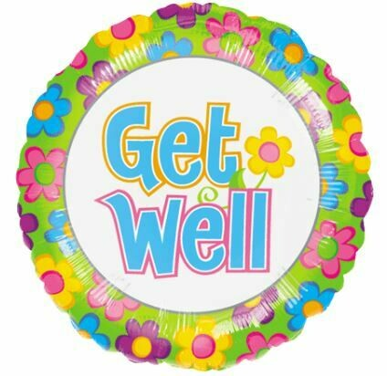 18 - GET WELL BRIGHT FLOWERS BALLOON