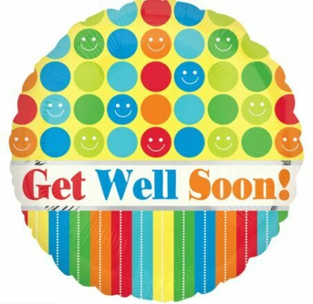 18 - GET WELL SOON SMILEY DOTS AND STRIPES