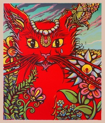Bright Eyes (Green Background / Red Kitty)