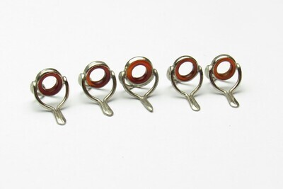 Agate Stripping Guide 7 + 8mm SET  (5 STK) AMBER RED MIX Nickelsilber