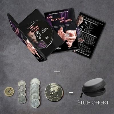 DVD L'ABC de la magie des pièces + Kit de pièces complet + Étuis offert
