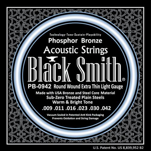 Black Smith Acoustic Guitar Strings Phosphor Bronze  9/42
