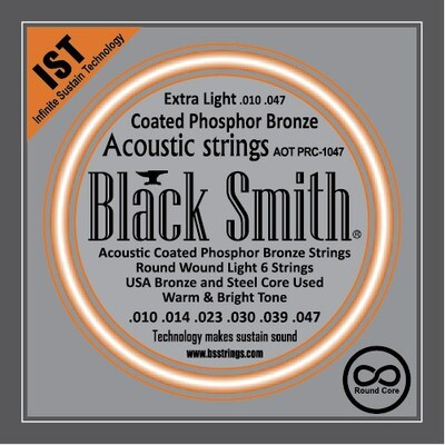 Black Smith Acoustic Guitar Strings Coated Round Core 10/47