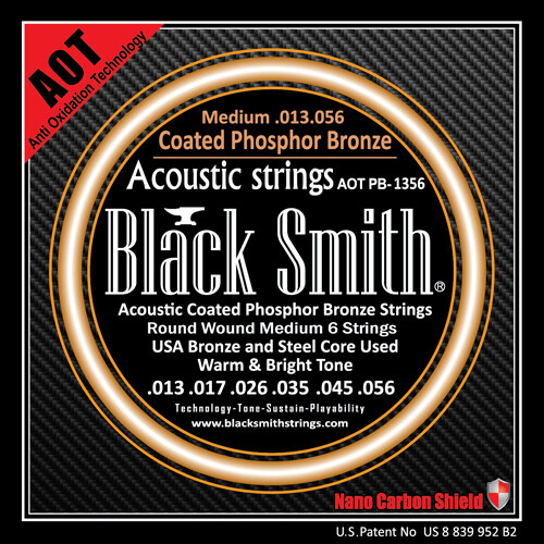 Black Smith Acoustic Guitar Strings Coated Phosphor Bronze 13/56