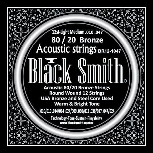 Black Smith Acoustic 12 String Guitar 80/20 Bronze 10/47