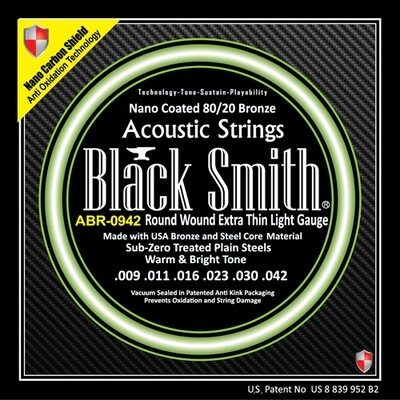 Black Smith Acoustic Guitar Strings Coated 80/20 Bronze 9/42