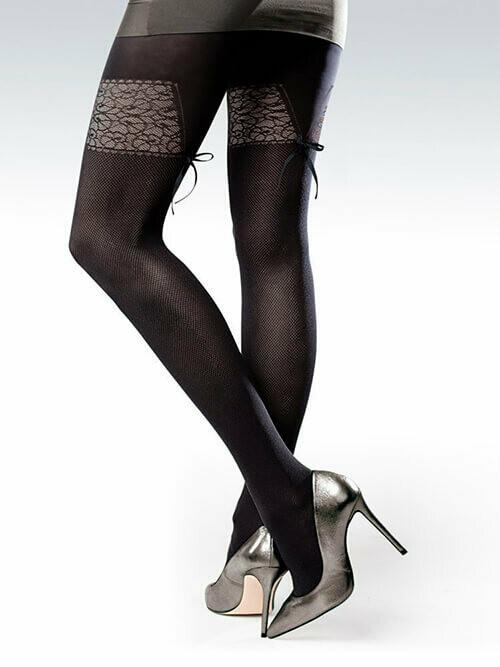 Kuviokirjaillut sukkahousut 50den, musta