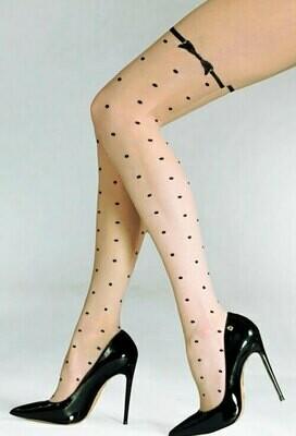 Pallokuvioidut sukkahousut 20den, natural/musta