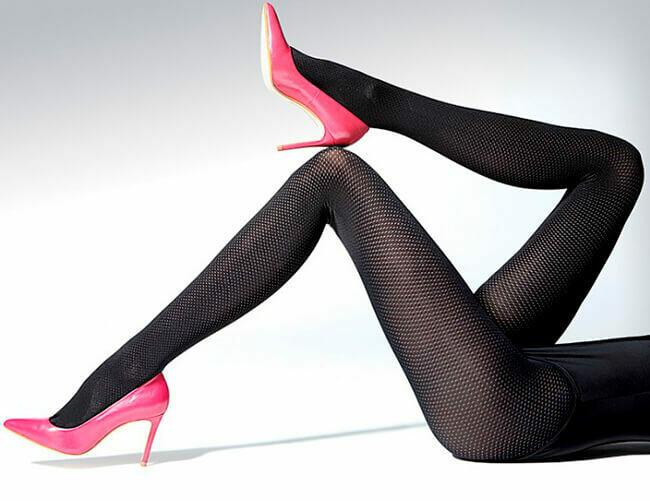 Pallokuvioidut sukkahousut 50den, musta