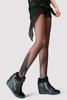 Siipikuvioidut nuorisosukkahousut 20den, musta