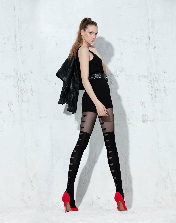 Mustat sukkahousut sydänkuvioilla 50den KOKO 1