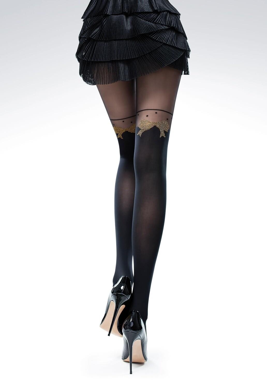 Sukkahousut rusettikuvioinnilla, musta