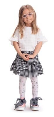 Nallekuvioidut lasten sukkahousut 40den, bianco